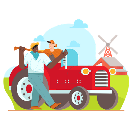 Farmer going to farm using tractor Illustration
