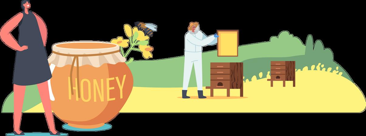 Farmer harvesting fresh honey for health benefits Illustration