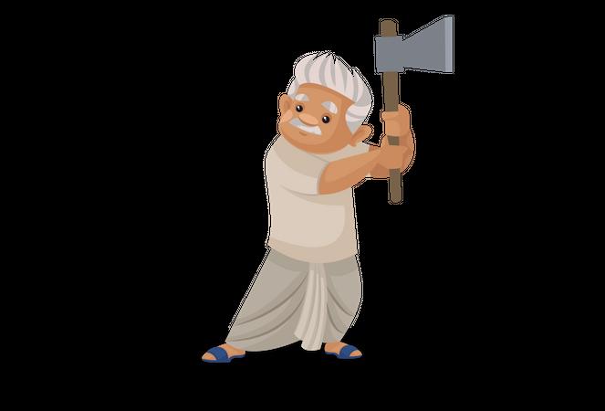 Farmer holding axe in his hand Illustration