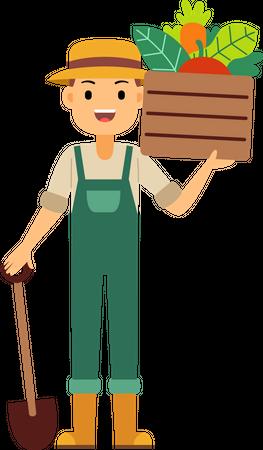 Farmer holding in one hand shovel and other hand holding vegetables basket on shoulder Illustration