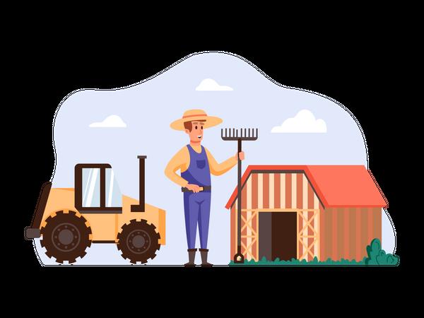 Farmer holding spade fork at his farm Illustration