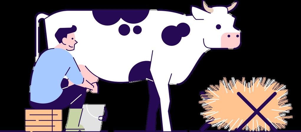 Farmer milking cow Illustration