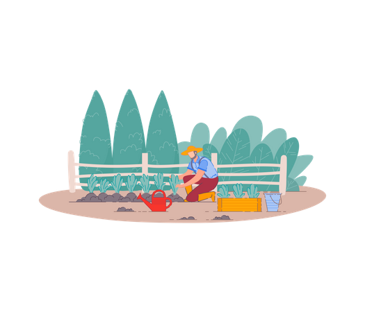 Farmer planting fruit trees Illustration