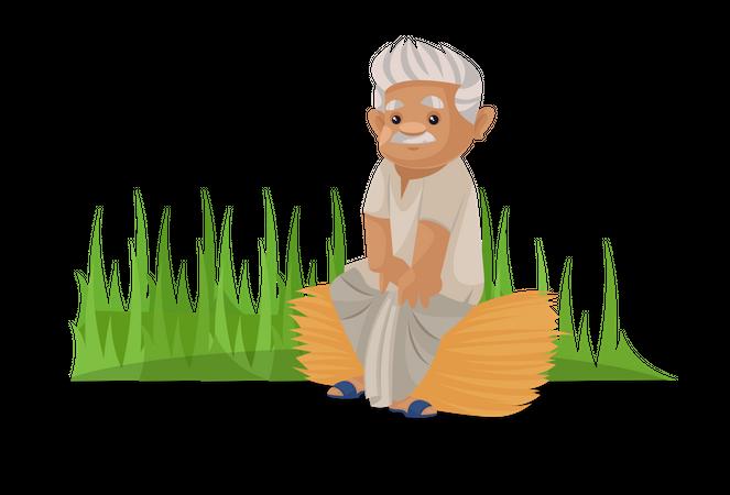 Farmer sitting in farm Illustration