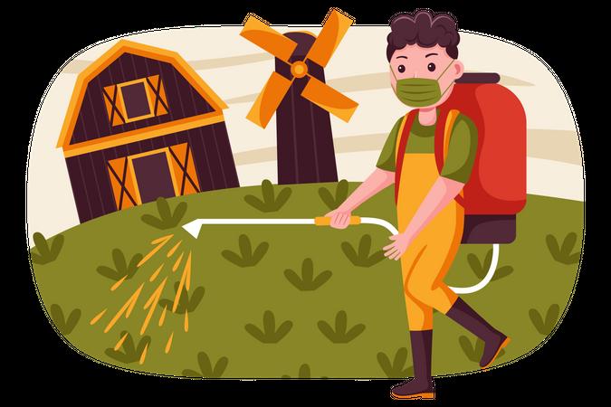 Farmer spraying pesticides in farm Illustration