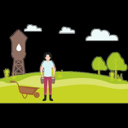 Farmer standing near wheelbarrow Illustration