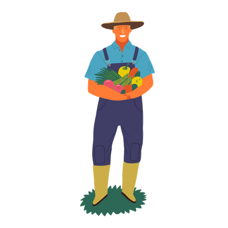 Farmer standing with fruits in his hand Illustration