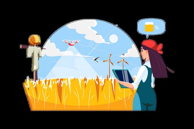 Farmer using drone to watering farm field using tablet Illustration