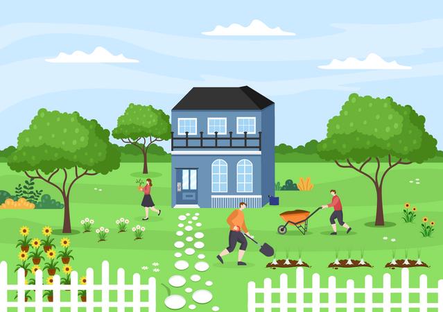 Farmers doing farming Illustration