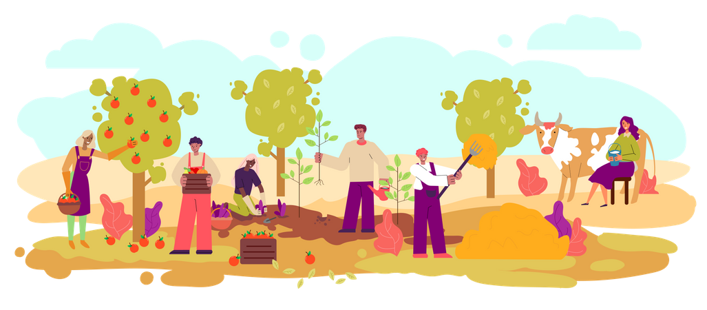 Farmers harvesting and growing animals Illustration