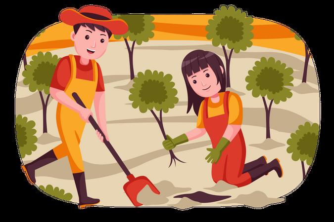 Farmers planting trees in farm Illustration