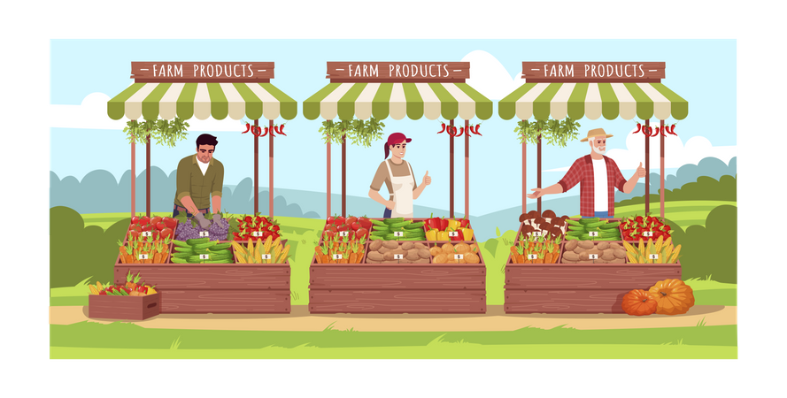 Farmers sell vegetables and fruits Illustration