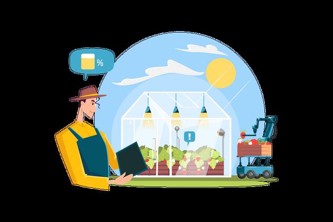 Farmers using modern farming technology Illustration