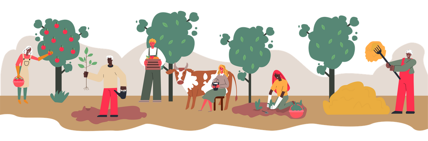 Farming activities Illustration