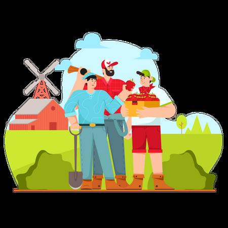 Farming family Illustration