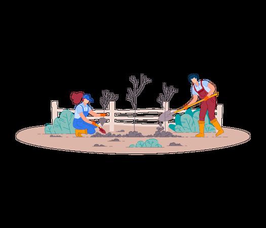 Farming people digging with shovel Illustration