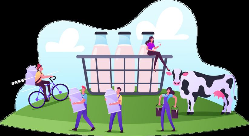 Farming Rancher Working on Animal Farm Milking Cow Illustration