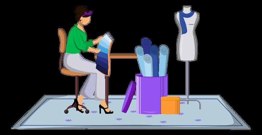 Fashion designer choosing color for designing clothes Illustration