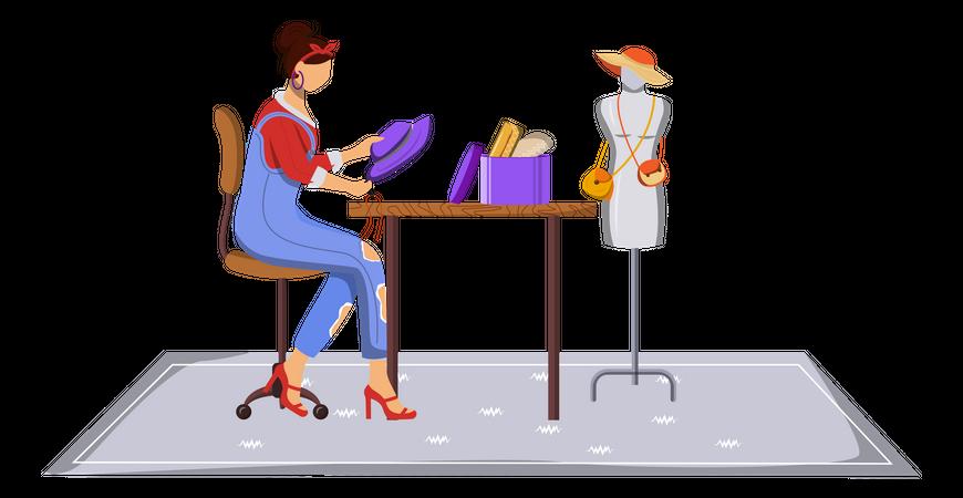 Fashion designer crafting fashion accessories Illustration