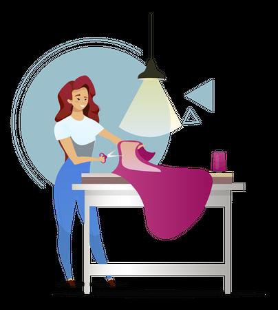 Fashion designer designing clothes Illustration