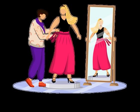 Fashion designer helps woman for dressing up Illustration