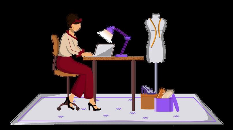 Fashion designer making design of clothes Illustration