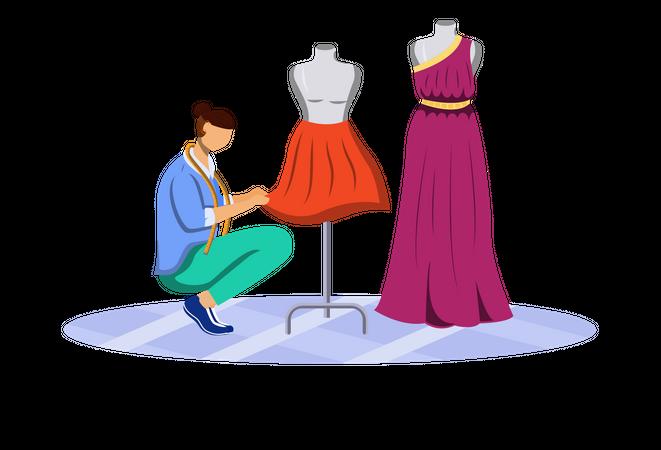 Fashion designer measuring clothes Illustration