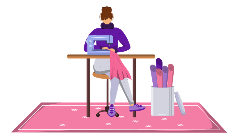 Fashion designer sewing designing clothes Illustration