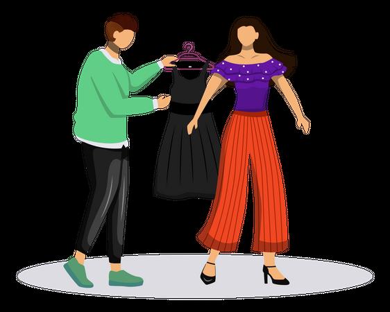 Fashion designer suggesting trending clothes Illustration