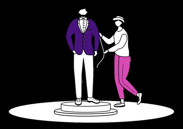 Fashion designer takes measurements Illustration