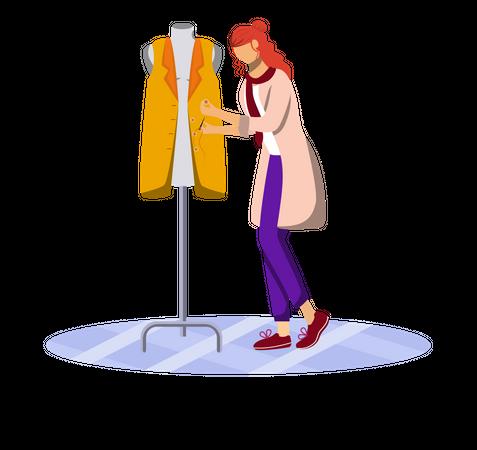 Fashion designer tucking buttons Illustration