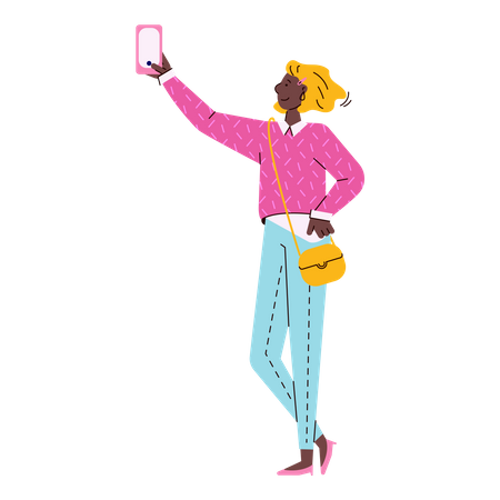 Fashion girl or young woman character making selfie picture using mobile phone Illustration