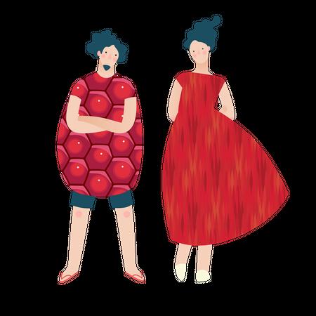 Fashion models wearing fruit dress Illustration