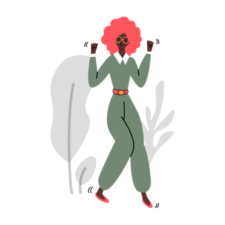 Fashionable trendy African American woman or girl cartoon character dances Illustration
