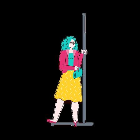 Fashionable woman holding handrails in subway train Illustration