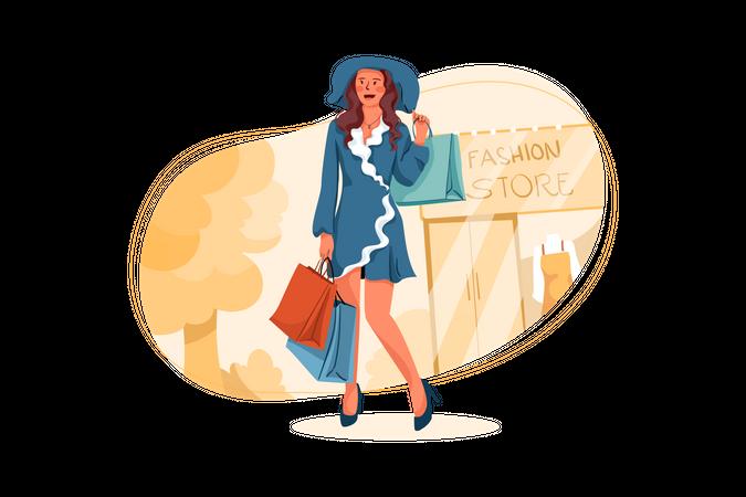 Fashionable woman holding shopping bags Illustration