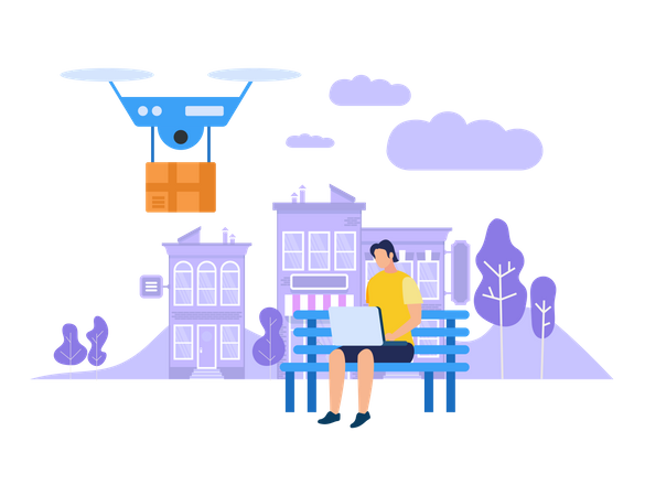 Fast Delivery with drone Illustration