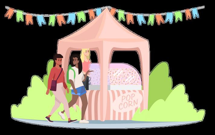 Fast food market stall with popcorn Illustration