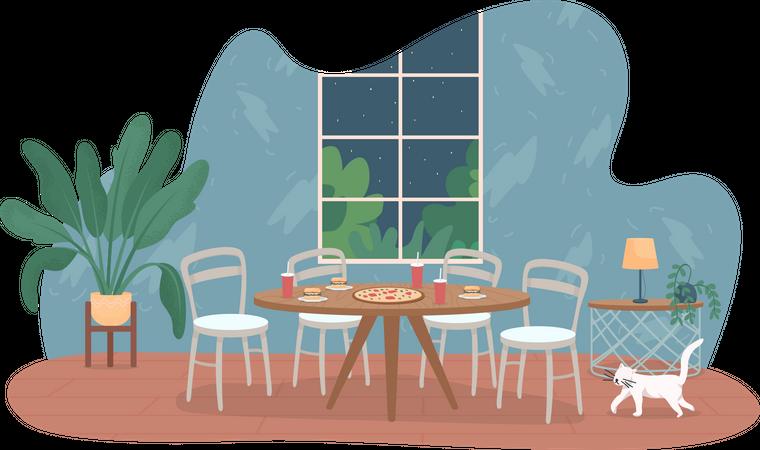 Fast food on table Illustration