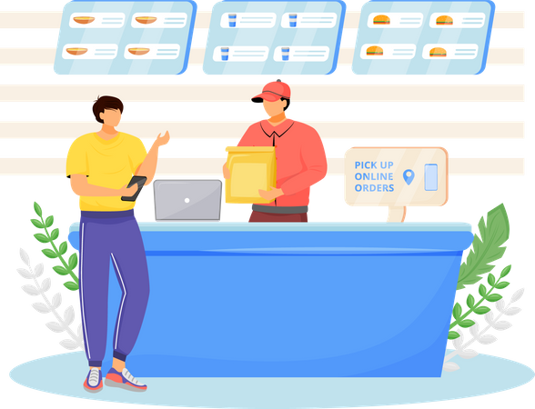 Fast food seller and buyer Illustration