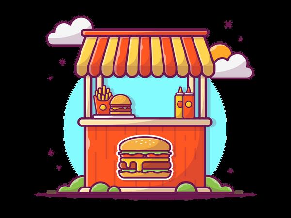 Fast Food stall Illustration