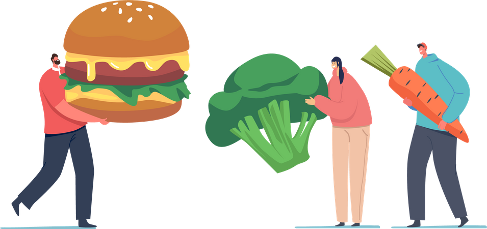 Fast-food vs vegetarian meals Illustration