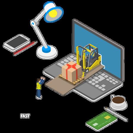 Fast gift delivery Illustration