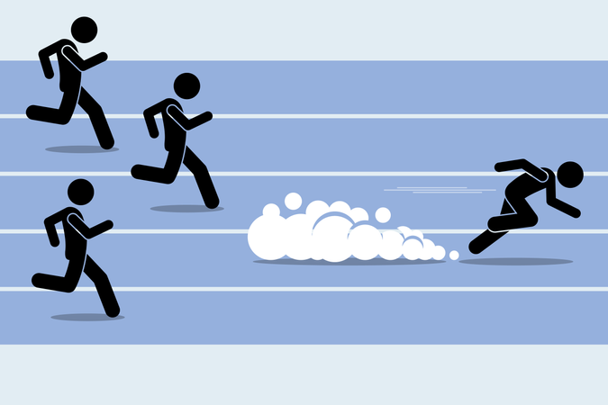 Fast runner sprinter overtaking everybody in a race track field event Illustration