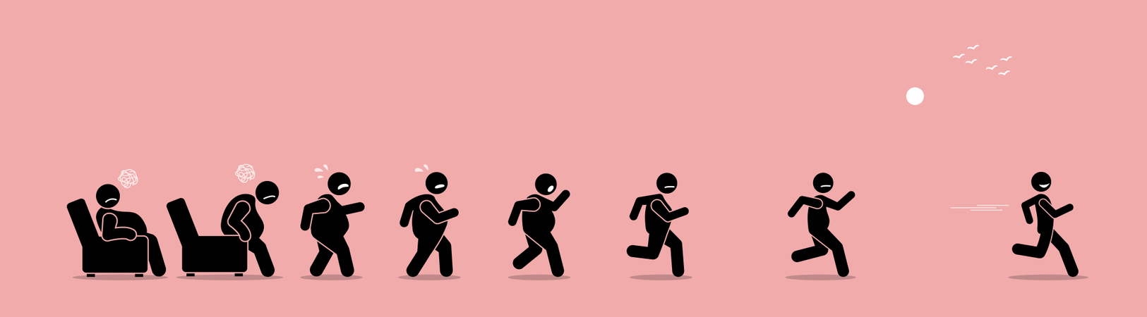 Fat man getting up, running, and become thin transformation Illustration