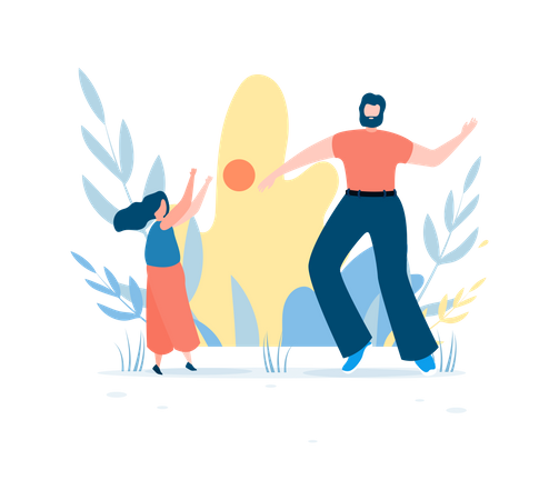 Father and daughter are playing ball in the park Illustration