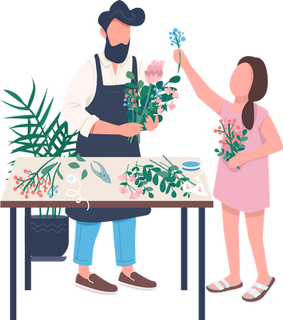 Father and daughter arranging flowers together Illustration