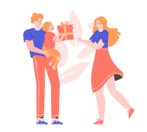 Father and daughter celebrating mother's day Illustration