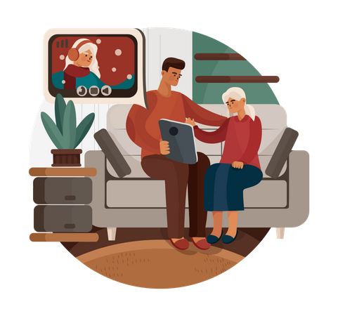 Father and daughter chatting on video call Illustration