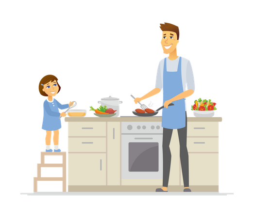 Father and daughter cooking in the kitchen Illustration